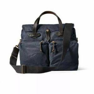 Filson '24 Hour' Tin Cloth Briefcase Bag Navy Blue